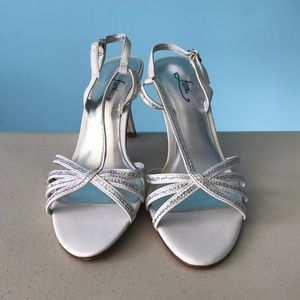 White and silver heels size 8